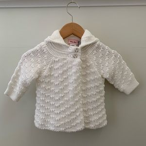 Little Lass Hooded Cardigan Sweater, Size 12 Month